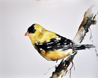 ORIGINAL Watercolor Painting, Yellow Bird, Goldfinch Painting, Bird Art, Yellow Watercolor Bird 6x8 Inch
