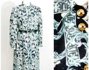 SALE SALE SALE Black Mint Green Paisley Dress / 70 Dress / 1970 Dress / Long Sleeve Dress / Vintage Dress / Shirt Dress / Angora Wool Dress