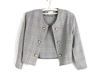 White Black Dogtooth Jacket / Double Breasted Jacket / Cropped jacket / Vintage Jacket / Stylish french chic jacket / Jacket Size L XL Large