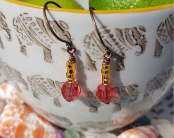 Indian Pink Swarovski Crystal Earrings