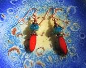 Orange Picasso earrings, aqua blue earrings, orange red earrings, boho chic earrings, gift for her, summer trends, copper earrings