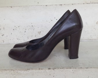 Shoes Leather Brown, classic, high heels