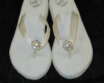 Size 8 to 8 1/2-Ivory Moire Taffeta Wedding Wedges
