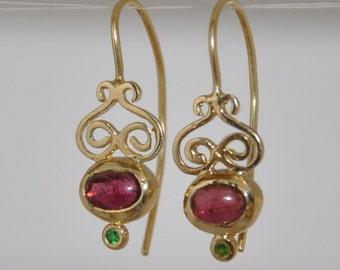 Pink Tourmaline ,  Pink Tourmaline Earrings , 14k Gold Earrings , 14 k Dangle Earrings ,Yellow Gold Earrings , Solid Gold Earrings ,