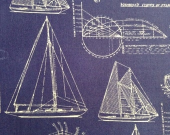 One Half Yard of Fabric Material - Sailboat Draft Blue