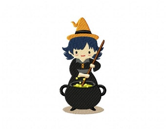 Witch Mixing Cauldron Machine Embroidery Design