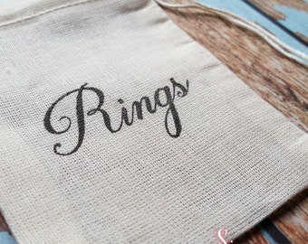 Wedding band rings bag. Ring pillow alternative, ring bearer accessory, ring warming ceremony.