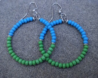 Colorful Hoop Earrings, Czech Bead Earrings, Blue and Green Earrings, Summer& Beach Earrings, Festival Earrings, Memory Wire Earrings,