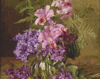 Still Life with Flowers PDF Cross Stitch Pattern