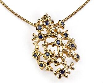 SEA SPRAY Gold Sapphire Pendant Necklace, Blue Sapphire Pendant Necklace, Unique Gold Pendant Necklace, Organic Pendant, Coral Pendant