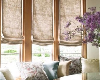 Natural Flax Sheer Linen Faux Roman Shades Valances Curtains