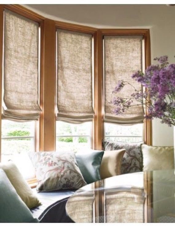 Natural flax sheer linen faux roman shades valances curtains for Discount bay windows