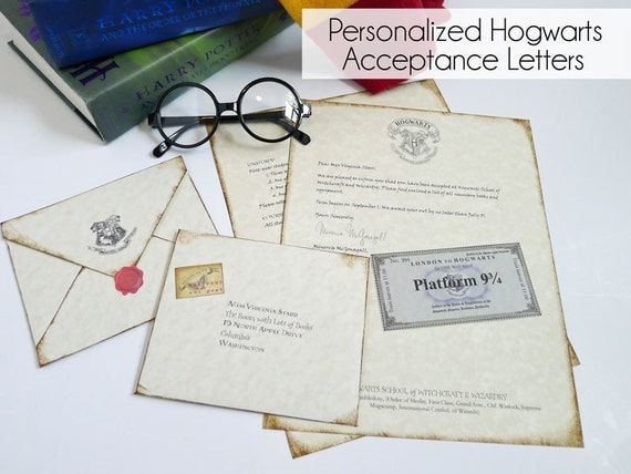 Personalized Hogwarts Acceptance Letter - Regular & Late Letter Option - Harry Potter Letter -Potter Gift-Hermione - Hedwig - Owl Post