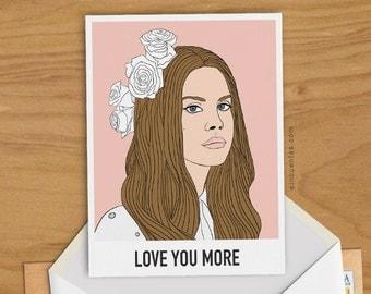 Lana Del Rey Greeting Card Woman Present Girl Gift Birthday Portrait American Music Dancer Icon Singer Lyric Elizabeth Grant Teenager Gift