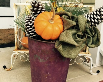Antique// Purple Lovers// SAP Bucket// Rusty// Shabby Chic Worn Condition!