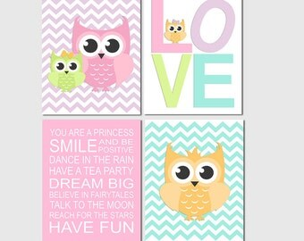 Colorful owl nursery Art Print Set - Kids room wall decor, baby girl, family, you are a princess, pink, purple, green, love -UNFRAMED