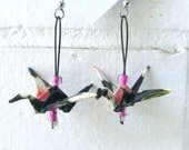 Black origami cranes earrings made out of chiyogami japenese paper. white and pink flowers, light weight jewel, paper birds