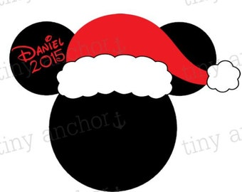 Personalized Santa Mickey Mouse First Name Christmas Disney Vacation Iron On Transfer Printable