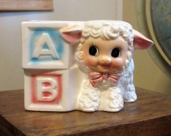 Vintage Nursery Planter with Lamb and Alphabet