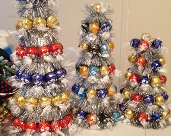 Lindt ball Christmas tree with lindt truffles.  Great for corporate gifts!!