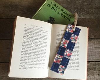 Quilt Block Bookmark, block-pattern - vintage & new fabric