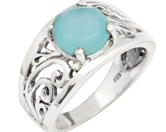 Blue Chalcedony Gemstone Ring Solid 925 Sterling Silver Jewelry Size 8.5 IR34941