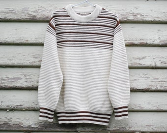 70s Vintage Mens Cream Sweater Off White Wool Knitted Jumper Retro Striped Hippie Vtg 1970s Size M-L