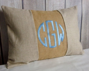 Lumbar Pillow Cover. Monogram Pillow. Burlap Pillow. Pillow Cover.