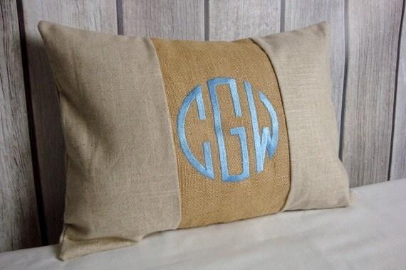 Lumbar Pillow Cover. Monogram Pillow. Burlap Pillow. Pillow Cover.