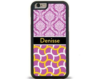 Purple Wave Damask Monogram Personalized iPhone Case, Monogram Personalized Galaxy Case