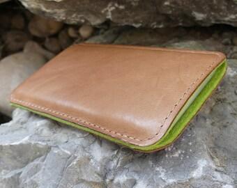 HTC 10 Case, htc 10 leathersleeve, htc 10 leather case, htc 10 pouch, SlimLine PEANUT Leather Case