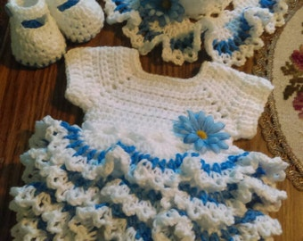 "White and cornflower blue ""onsie"" outfit..this is soft and beautiful. :)"