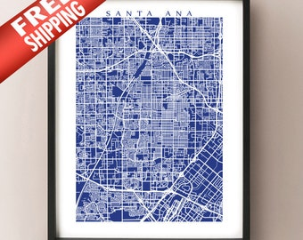 Santa Ana Map - California Poster Print