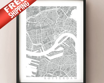 Rotterdam Map Art Poster Print - customize your map, choose your color