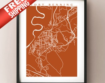 Fort Benning Map Print - Georgia Poster