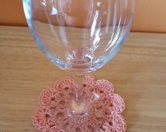 Set of 4 Crochet flower coasters in peach