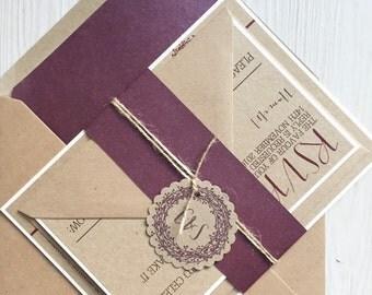 Rustic wedding invitation - plum wreath - kraft wedding invitation - rustic wedding invitation bundle