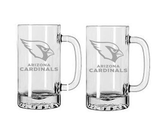 Arizona Cardinals beer mugs,Etched beer mugs, football beer mugs,Customized beer mugs,Man Cave,Carinals,etched gifts