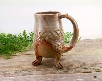 Dragon Creature Cup 20 oz - Large Mugs for Tea - Dragon Gift Him - Unique Pottery Mugs - Office Mug - Enchanted Forst - Mesiree Ceramics