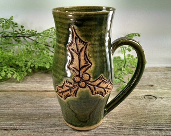 18 oz Dark Green Holly Coffee Mug - Wheel Thrown and Hand Carved Stoneware Cup