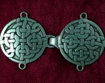 Celtic Knot pewter silver clasp, handcrafted for cloaks, tunics, capes, robes