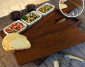 Personalized Bruschetta Bread Board Set including Ceramic Bowls and Bread Knife Engraved with Family Monogram Design Options