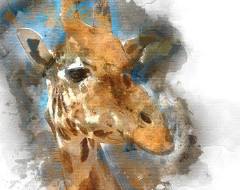 Giraffe Art Print, Animal Watercolor Painting, Kids Wall Decor, Watercolor Art, Illustration, Nursery decor, Kids  art, Childrens art print