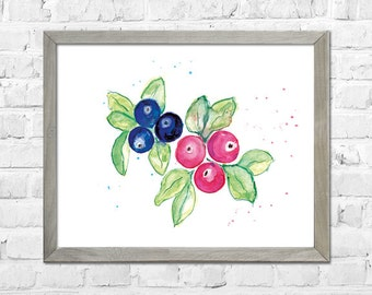 Blueberry Watercolor Print, Kitchen Wall Decor, Fruit Watercolor Painting, Blueberry Wall Art, Blueberry Art, Kitchen Wall Art
