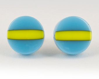 FREE Shipping - Blue and Yellow Studs for Men - Stylish Men's Earrings