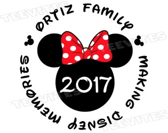6 Pack Family Disney Mickey and Minne Heads Personalized Vacation T-Shirts