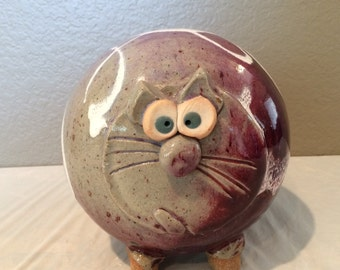 Vintage Collectible Drip Glazed Pottery Cat Face Round Piggy Bank -Excellent Condition