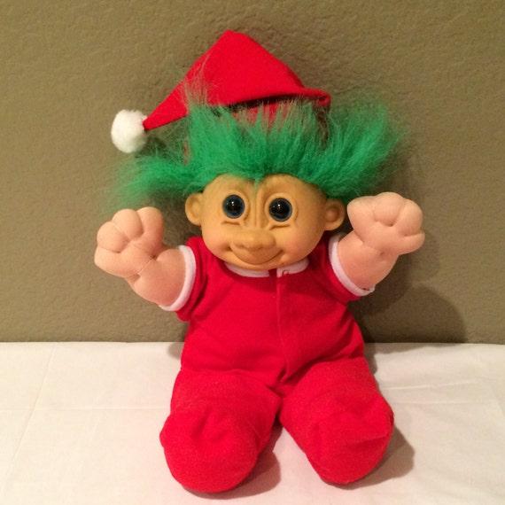 Rare Russ 12 Inch Troll Baby Doll Red Christmas Sleeper Plush