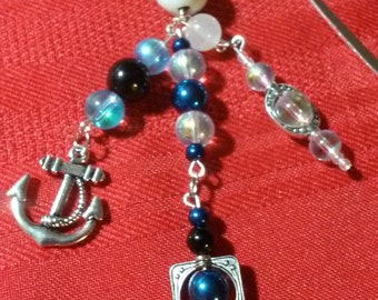 Shepards hook bookmark Blues with Anchor                  item #2