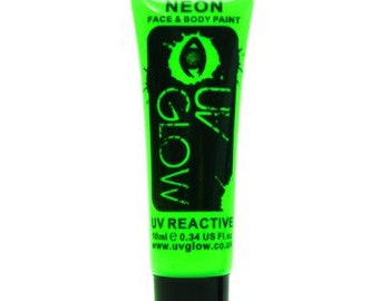 Green UV Glow Neon Body Paint - Glowing Body Paint - 0.34 / 10ml tubes